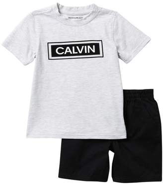 Calvin Klein Logo Bar T-Shirt & Shorts Set (Little Boys)