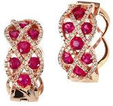Effy 14K Rose Gold Diamond and Natural Ruby Earrings