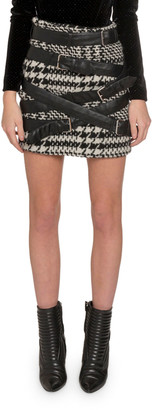 Redemption Faux-Leather Strapped Houndstooth Mini Skirt