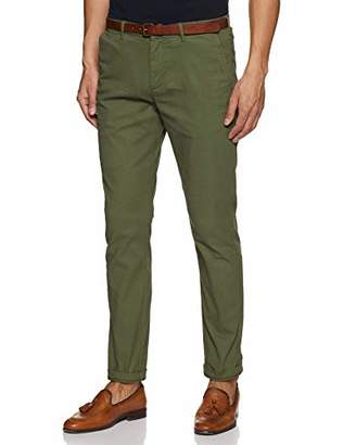 Scotch & Soda Men's AMS Blauw Stuart Chino in Peached Twill with Belt Trouser, Green (Military 0J), W33/L34 (Manufacturer Size: 33/34)