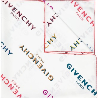 Givenchy Off-Set Logo Print Silk Scarf