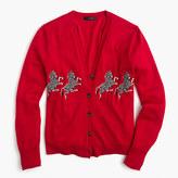 J.Crew Lightweight wool cardigan sweater in zebra print