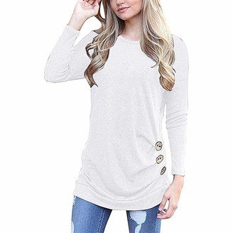 KBUY Womens Side Buttons Long Sleeve Casual Crew Neck Elbow Patched Sweatshirt Loose Stripe T Shirt Blouses Tunic Tops Ladies Leopard Color Block Round Neck T-Shirts Pullover Jumper Plus Size S-3XL