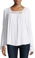 Neiman Marcus Bell-Sleeve Lace-Inset Top, White