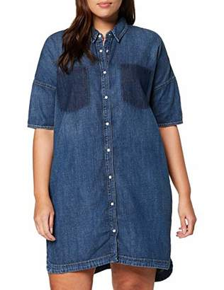 Tommy Jeans Hilfiger Denim Women's Thdw Ptcwrk Dnm Dress,Large
