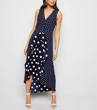 New Look AX Paris Spot Print Frill Midi Dress