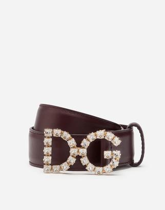 Dolce & Gabbana Calfskin Belt With Rhinestones Logo