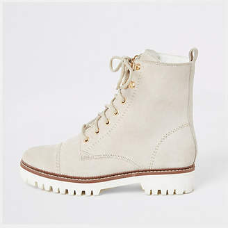 River Island White suede lace-up ankle boots