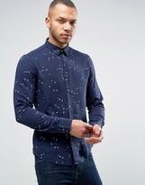 Armani Jeans Stripe Logo Shirt Slim Fit in Navy