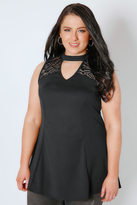 Yours Clothing Black Peplum Choker Top With Lace Panel