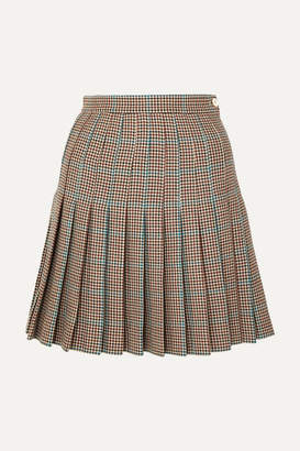 Off-White Off White Pleated Checked Wool Mini Skirt - Brown