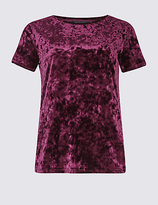 M&S Collection Velour Round Neck Short Sleeve T-Shirt