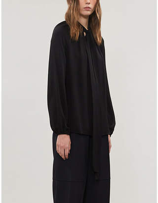 Theory Tie-scarf silk-crepe blouse