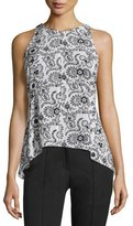 A.L.C. Stuart Sleeveless Henna Silk Top, Black/White