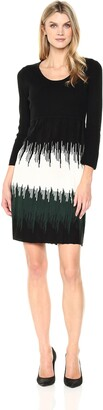 Sandra Darren Women's 1 Pc 3/4 Sleeve Multi Colored Scoop Neck Sweater Dress