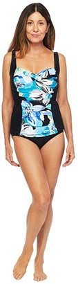 Maxine Of Hollywood Swimwear Retro Floral Over The Shoulder Shirred Tankini (Cobalt) Women's Swimwear