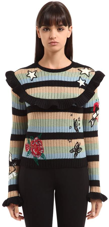 Valentino Embroidered Striped Wool Knit Sweater