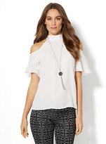 New York & Co. Halter Cold-Shoulder Blouse