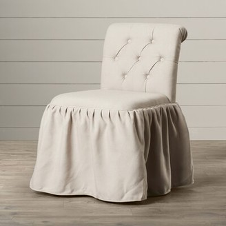 Vanity Tufted Linen Upholstered Side Chair One Allium Way