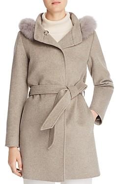 Cinzia Rocca Icons Fur Trim Wool & Cashmere Coat