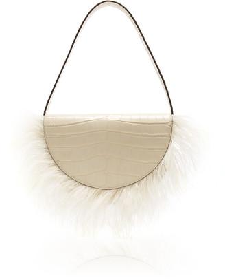 STAUD Amal Ostrich Feather Leather Shoulder Bag