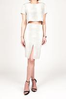 Donna Mizani Front Slit Midi Skirt In Croc