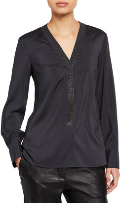 Brunello Cucinelli Monili-Fringe Silk V-Neck Blouse