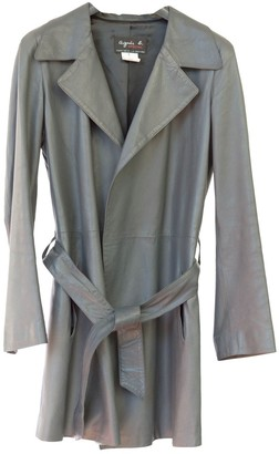 agnès b. Grey Leather Trench Coat for Women Vintage