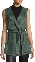 Neiman Marcus Long Belted Wrap Vest, Green Sage
