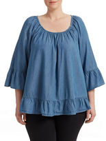 Style And Co. Plus Off-the-Shoulder Chambray Shirt