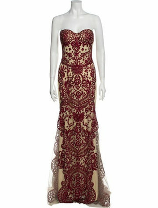 Naeem Khan Lace Pattern Long Dress Red