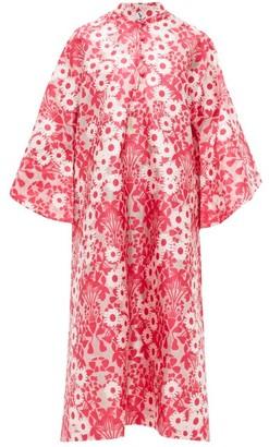 La Vie Style House - No.350 Floral-jacquard Kaftan Dress - Pink Multi