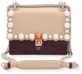 Fendi Kan I Small Pearly-Studded Leather Shoulder Bag