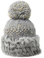 Siggi Womens Rabbit Fur Wool Knit Winter Snow Skull Pom Beanie Hats Caps Gray