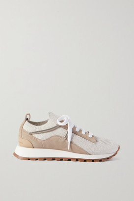 Brunello Cucinelli Bead-embellished Stretch-knit And Suede Sneakers - Light gray