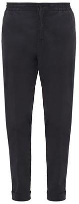 Officine Generale Phil Elasticated-waist Cotton-blend Trousers - Mens - Navy