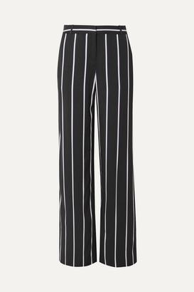 Equipment Arwen Striped Twill Wide-leg Pants - Black