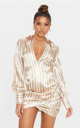 PrettyLittleThing Pink Satin Chain Print Plunge Wrap Shirt Dress