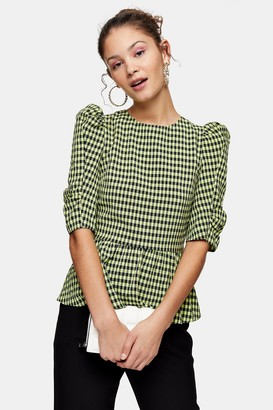 Topshop Womens Lime Green Gingham Lace Up Puff Sleeve Blouse - Lime
