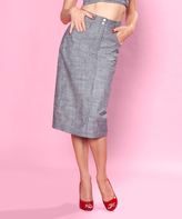 Bettie Page Graphite Chambray Cruisin' Pencil Skirt