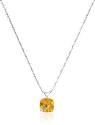 Amazon Collection Sterling Silver Cushion-Cut Checkerboard Peridot Pendant Necklace (8mm)