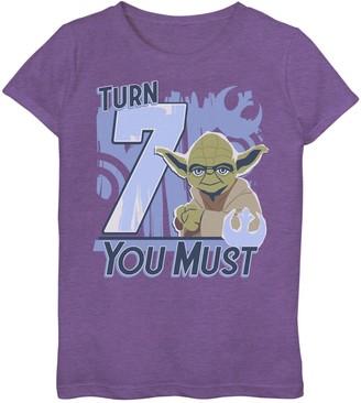 Star Wars Girls 7-16 Yoda Turn 7 You Must Rebel Logo Portrait Graphic Tee