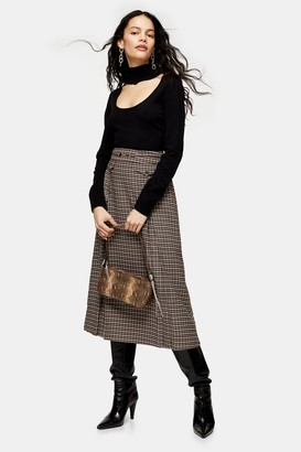 Topshop Womens Multi Check Midi Skirt - Camel