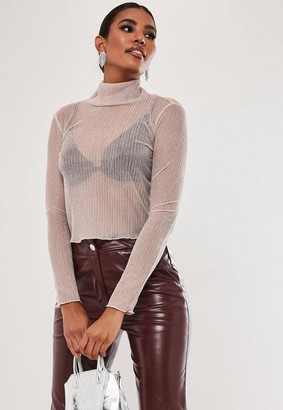Missguided Glitter High Neck Top