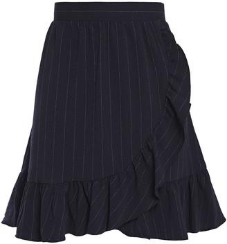Ganni Clark Wrap-effect Ruffled Pinstriped Stretch-crepe Mini Skirt