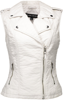 Blanc Noir White Moto Faux Leather Vest