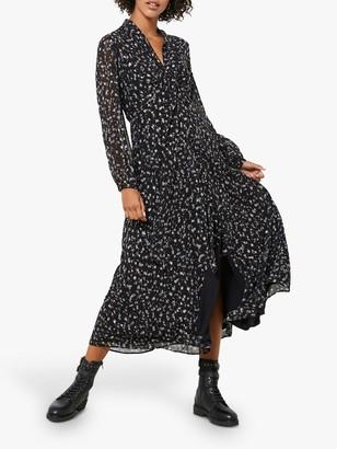 Mint Velvet Miley Floral Midi Dress, Black