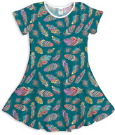 Urban Smalls Blue & Purple Feather A-Line Dress - Toddler & Girls