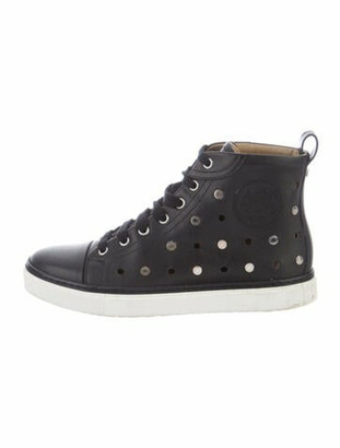 Hermes Leather Lasercut Accents Sneakers Black