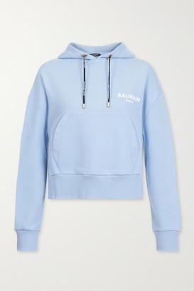 Balmain Cropped Flocked Cotton-jersey Hoodie - Light blue